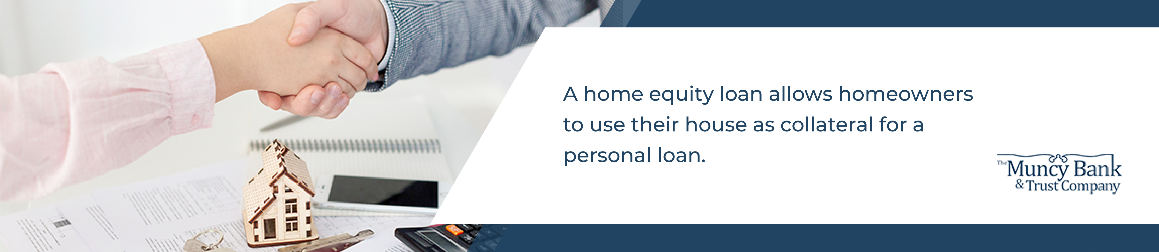 A home equity loan allows homeowners to use their house as collateral for a personal loan - image of a person shaking hands with a lender